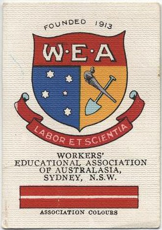Workers' Educational Association - Cigarette card featuring coat of arms of Workers' Education Association of Australasia, Sydney 1929