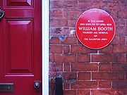 A plaque on the house in Nottingham in which William Booth was born on 10th April 1829.
