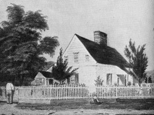 "Irvington, New York - An artist's depiction of the part of the property of Wolfert Ecker (Acker) that was sold to Washington Irving, who named it ""Wolfert's Roost"" before turning it into his estate, Sunnyside"