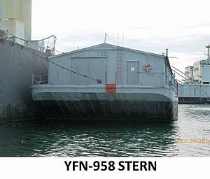 Type B ship - YFN-958 a covered lighter barge, non-Self-propelled. Built by Mare Island Navy Shipyard in 1944. Light Displacement 188 tons. Full Displacement 688 tons