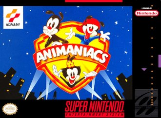 Animaniacs (video game) - North American SNES cover art, featuring the Warner Siblings, Yakko, Wakko, and Dot.