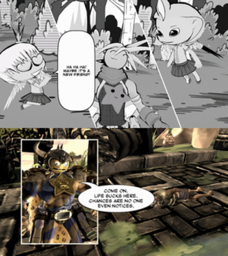 Comic Jumper: The Adventures of Captain Smiley - Comic Jumper features unique art styles for individual comics, including Manga (top) and Fantasy (bottom).