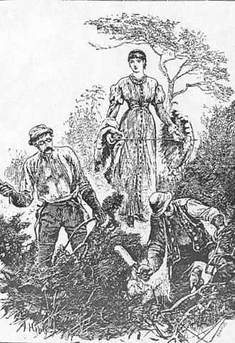"""The Return of the Native - """"Unconscious of her presence, he still went on singing."""" Eustacia watches Clym cut furze in this illustration by Arthur Hopkins for the original Belgravia edition (Plate 8, July 1878)."""