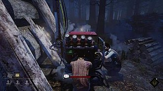 Dead by Daylight - The player repairing a generator with other Survivors