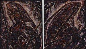 Living Memory (paintings) - Extinguishing the Sun, the Moon and the Stars, diptych, oil on canvas, 3.65 X 6 meters (12 X 20 feet), 1993