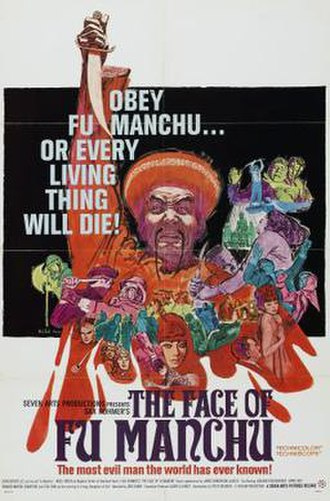 Fu Manchu - Theatrical release poster by Mitchell Hooks for 1965 film The Face of Fu Manchu