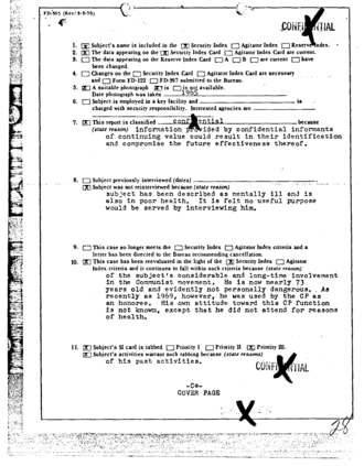 FBI Index - Notable American singer Paul Robeson's index card update form from the 1970s