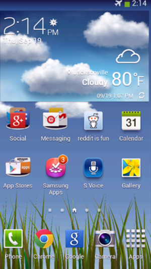 "Samsung Galaxy S4 - S4 using TouchWiz on ""Jelly Bean"""