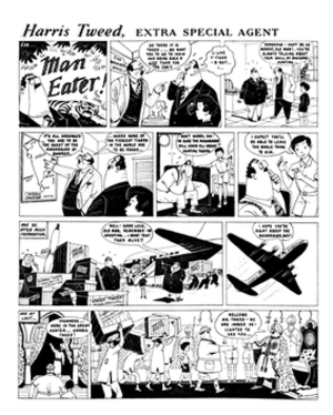 John Ryan (cartoonist) - A John Ryan panel from the 1959 Eagle Annual No. 8: Harris Tweed in Man Eater!