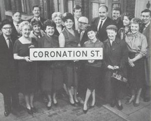 Harry Elton with the cast of Coronation Street in 1963