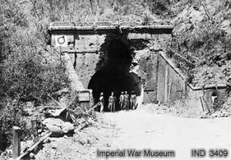 Battle of the Admin Box - Entrance to one of the disused railway tunnels on the Maungdaw-Buthidaung road, captured by Allied troops in March 1944