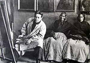 Isidre Nonell - Isidre Nonell with two women subjects, about 1904.