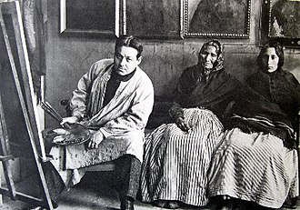 Isidre Nonell - Isidre Nonell with two women subjects, about 1904