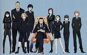 Linebarrels of Iron - From left to right: Emi Kizaki, Captain Shinobu Igarashi, Satoru Yamashita, Reiji Moritsugu, Kunio Ishigami, Yui Ogawa, Shizuna and Izuna Endo, and Kouichi Hayase.