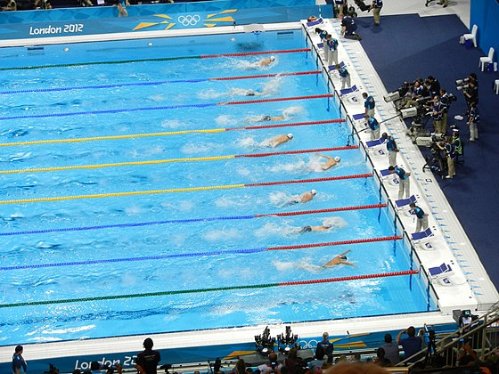 In his 100m butterfly heat, Phelps (fourth from top) was 8th at the 50m split before winning his heat and qualifying for the semi-finals London 2012 100m butterfly heats.jpg