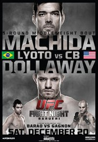 A poster or logo for UFC Fight Night: Machida vs. Dollaway.