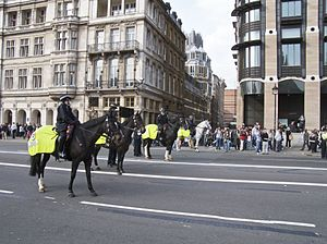 MPS mounted officers policing a protest at Wes...