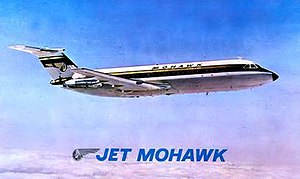 Mohawk Airlines - Postcard showing the 1960s BAC 1-11 livery