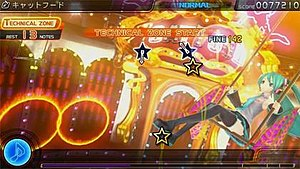"""Hatsune Miku: Project DIVA F - In-game screenshot during the new """"Technical Zone"""" of the game. Note the new """"Star"""" symbols in the game."""