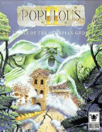 Populous II: Trials of the Olympian Gods - European cover art by David John Rowe