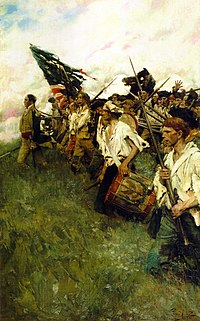 Painting showing a line of somewhat tattered but determined American soldiers marching into battle, led by an officer on foot