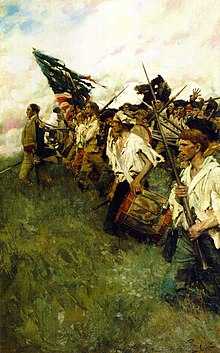 Painting shows ragged-looking soldiers advancing into battle under an equally tattered US flag.