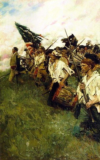 Brandywine Creek (Christina River tributary) - Nation Makers depicts a scene from the Battle of Brandywine, by Howard Pyle, a summer resident of Chadds Ford.  The painting is displayed in the Brandywine River Museum