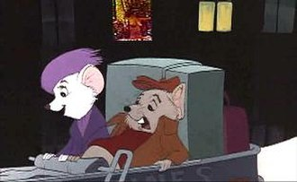 The Rescuers - One of the frozen frames containing a picture of a topless woman in the window.