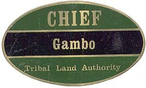Tribal chief - Badge of office of Chief Gambo, Rhodesia c. 1979.