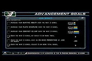 MLB 08: The Show - Road to the Show mode, showing the player's goals to advance in their career.