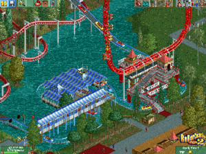 RollerCoaster Tycoon 2 - An in-game screenshot of RollerCoaster Tycoon 2 showing the user interface and some rides