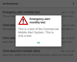 Wireless Emergency Alerts - (Old) example of a CMAS test alert as shown on an Android phone.