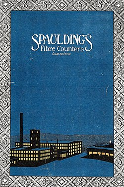 "1915 catalog cover for ""Spaulding's Fibre Counters Guaranteed"", showing a rendering of the North Rochester plant at night."