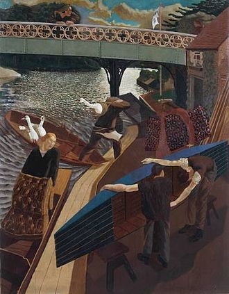 Stanley Spencer - Swan Upping at Cookham  (1915–19) Oil on canvas, Tate Britain (T00525)