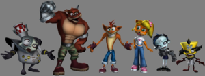 Crash Tag Team Racing - The returning characters of Crash Tag Team Racing from left to right: Doctor N. Gin, Crunch Bandicoot, Crash Bandicoot, Coco Bandicoot, Nina Cortex and Doctor Neo Cortex