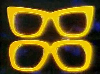 The Two Ronnies - The spectacles logo from the show's opening. Both performers wore glasses; Barker's are on top, Corbett's underneath.
