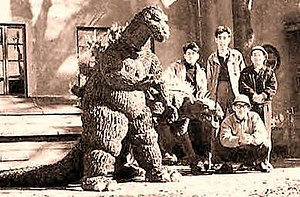 Godzilla Raids Again - The Godzilla and Anguirus suits built for the unproduced The Volcano Monsters.
