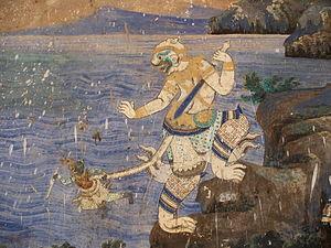 Night in paintings (Eastern art) - Image: Wat mural