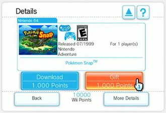 Wii Shop Channel - Selecting the gift option for Pokémon Snap
