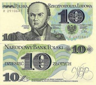 10 złotych note - The ten złotych note, with a picture of Józef Bem, from the third banknote series.