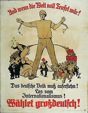 "Greater German People's Party - 1923 election poster: ""And if the world were full of devils! The German people must arise! Away from Internationalism! Vote Greater German!"""