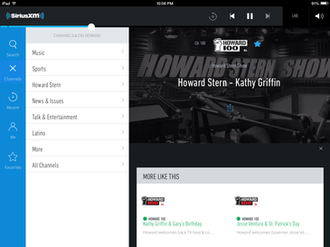 Sirius XM Satellite Radio - Sirius XM's mobile app (version 3.0), as seen on the iPad Mini