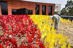 Australian Institute of Aboriginal and Torres Strait Islander Studies - A Sea of Hands outside the AIATSIS building on Acton Peninsula. The Sea of Hands was created in 2014 with the help of local communities, to commemorate the sixth anniversary of the National Apology to Australia's First Peoples, 2008.