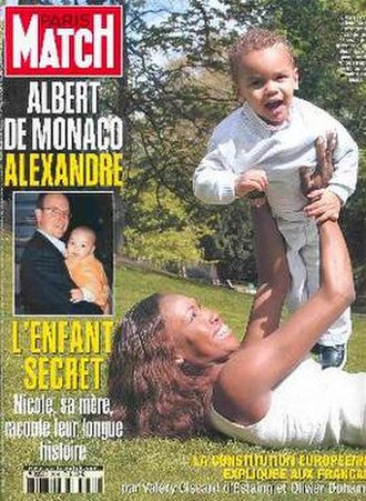 Paris Match - Alexandre Coste, son of Albert II of Monaco, on the cover of Paris Match, 21 October 2001