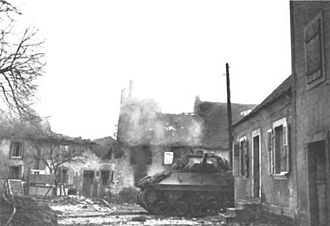 249th Engineer Battalion (United States) - Fight in Arsdorf was brought to an end with a tank destroyer ending the two days of fighting between the engineers and German defenders of the town.