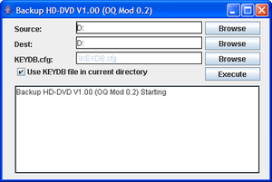 Version of BackupHDDVD modified to include a GUI in use on a Windows XP system