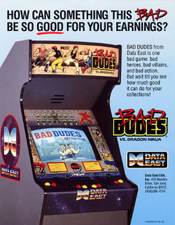 North American arcade flyer of Bad Dudes Vs. DragonNinja.