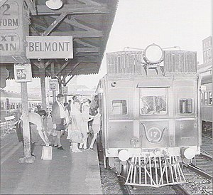 Belmont, New South Wales - Diesel railcar prepares to leave Newcastle Station for Belmont, c1972