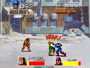 Captain America and The Avengers - Screenshot of the 1991 two-player arcade version.