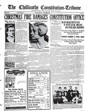 Chillicothe Constitution-Tribune - December 26, 1930 edition, the day after the fire.